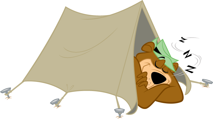 Yogi Bear sleeping in a tent